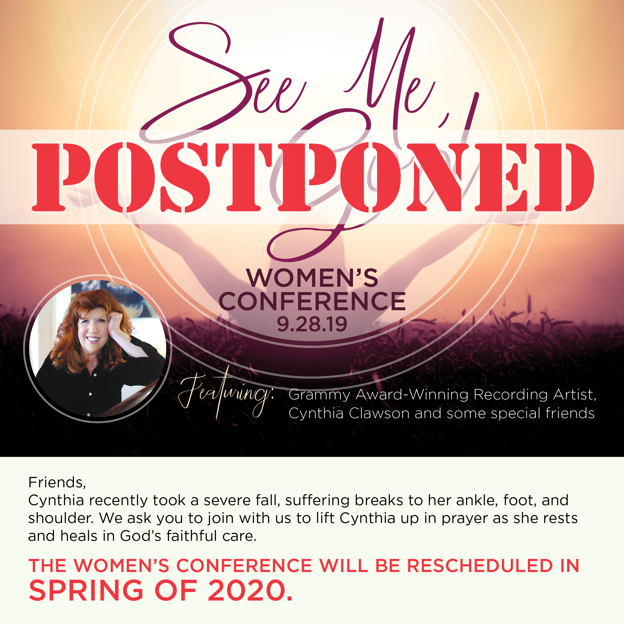 CAHM_TBCH Women's Conference Postponed Email